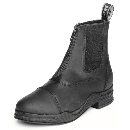 HyLAND Wax Leather Zip Boot in Black size 4