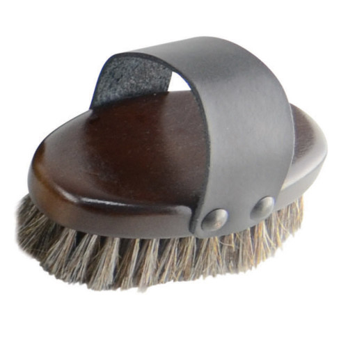 HySHINE Deluxe Horse Hair Wooden Body Brush in Dark Brown Small