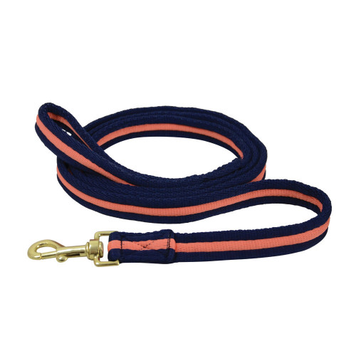 Hy Soft Webbing Lead Rein without Chain - Navy/Orange