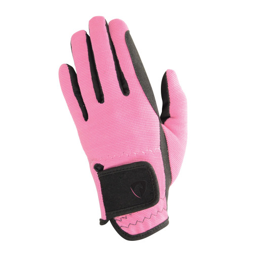 Hy5 Children's Every Day Two Tone Riding Gloves in Black and Pink in Child small