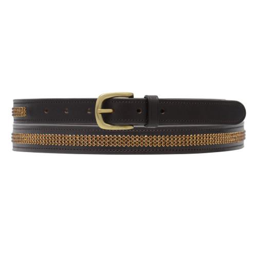Hy Crystal Diamante Leather Belt - Brown - Gold Diamante -70cm