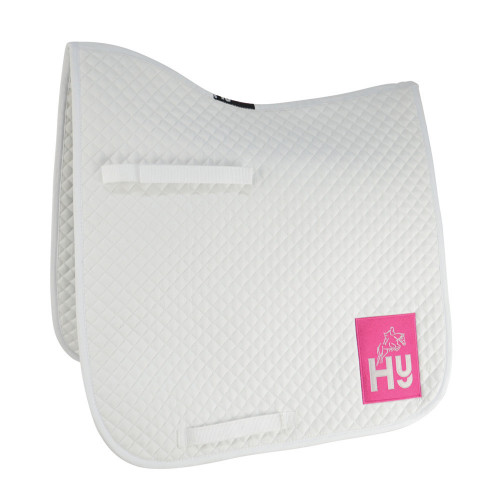 Full View HyWITHER Embroidered Competition Dressage Pad in White in Cob/Full Size