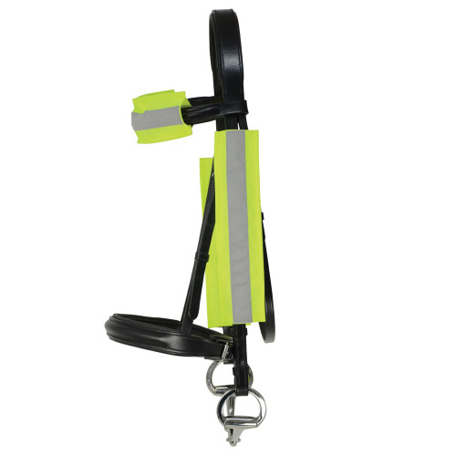 Side View Reflector Bridle Bands by Hy Equestrian in One Size in Yellow