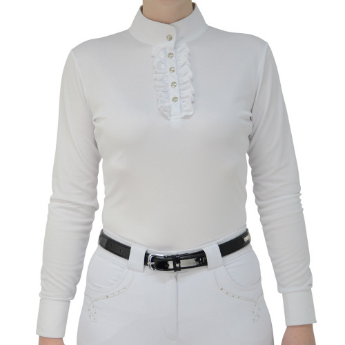 HyFASHION Katherine Ruffle Long Sleeved Show Shirt - White - X Small