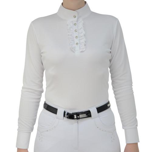 HyFASHION Katherine Ruffle Long Sleeved Show Shirt - White - X Small