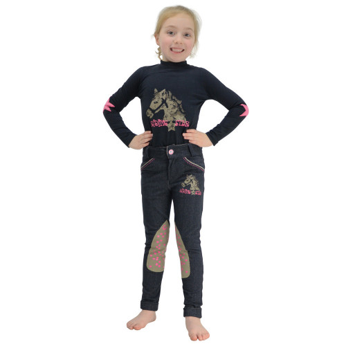 Riding Star Denim Jodhpurs by Little Rider - Denim - 3-4 years