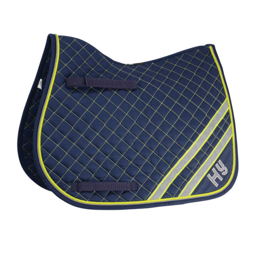Side View HyWITHER Reflector Saddle Pad in Yellow/Silver in Pony Size