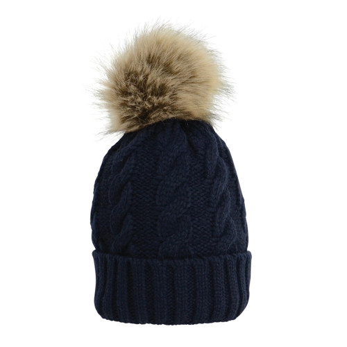 HyFASHION Melrose Cable Knit Bobble Hat - Navy - One Size