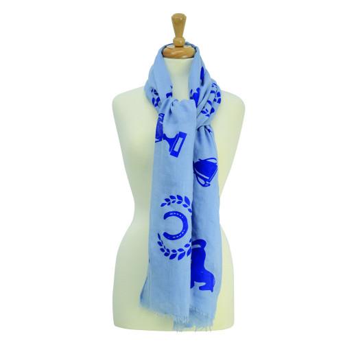 HyFASHION Ladies Balmoral Scarf - Light Blue/Royal Blue Print - One Size