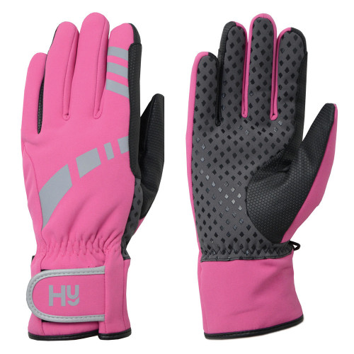Hy5 Reflective Waterproof Multipurpose Gloves in Hot Pink/Grey in extra small