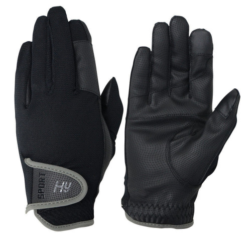 Hy5 Sport Dynamic Lightweight Riding Gloves in Black/Charcoal Grey in extra small