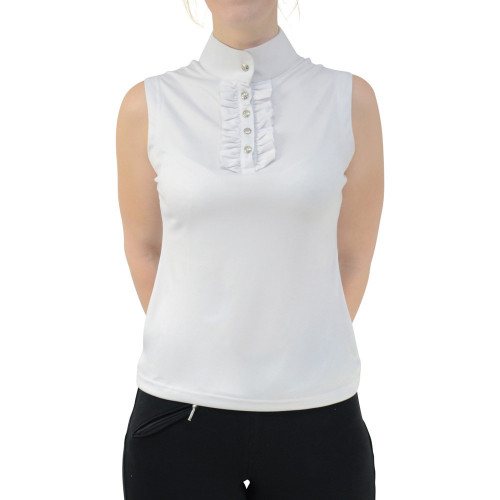 HyFASHION Katherine Ruffle Sleeveless Show Shirt - White - X Small