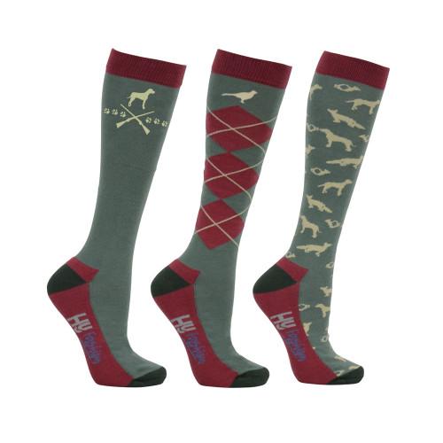 HyFASHION Fox and Hound Socks (Pack of 3) - Burgundy/Green/Beige - Adult 4-8