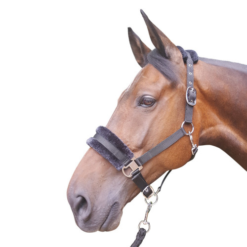 Hy Faux Fur Padded Head Collar with Lead Rope - Black - Pony