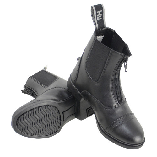 HyLAND York Synthetic Combi Leather Zip Jodhpur Boots in Black Childs 1