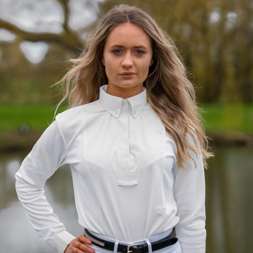 HyFASHION Ladies Dedham Long Sleeved Tie Shirt - White - X Small