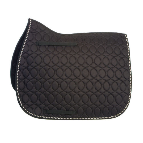 HySPEED Deluxe Saddle Pad with Cord Binding in Black/Black White & Metallic Silver Cord in Pony