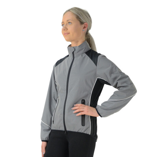 Front/Side View Silva Flash Reflective Jacket by Hy Equestrian - Reflective Silver in X Small