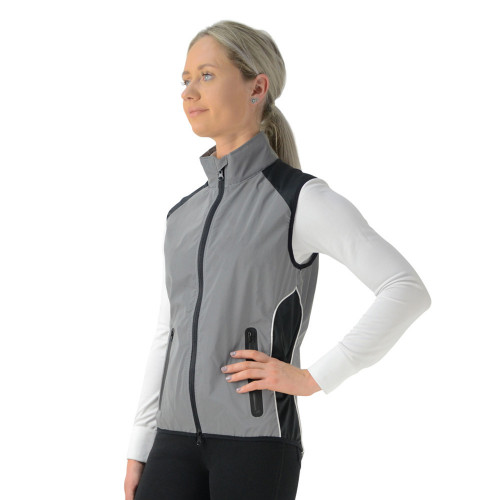 Front/Side View Silva Flash Reflective Gilet by Hy Equestrian - Reflective Silver in X Small