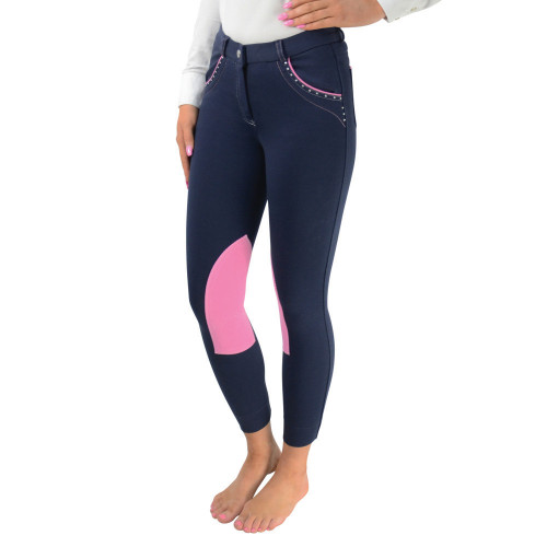HyPERFORMANCE Darcy Diamante Mizs Jodhpurs - Navy/Pink - 22""