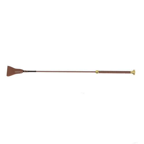 HySCHOOL Faux Leather Riding Whip in Brown/Gold