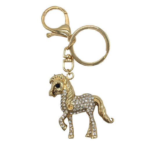 Little Rider Diamante Key Ring - Gold/Diamante