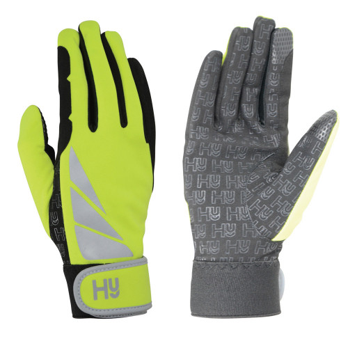 Hy5 Reflector Riding Gloves in Yellow in extra small