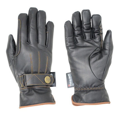 Hy5 Thinsulate™ Leather Winter Riding Gloves in Black/Tan Stitch in extra small