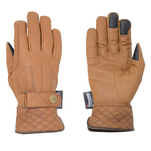 Hy5 Thinsulate™ Quilted Soft Leather Winter Riding Gloves in Tan in extra small