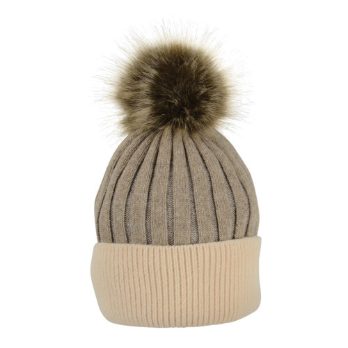 HyFASHION Luxembourg Luxury Bobble Hat - Toffee/Beige - One Size