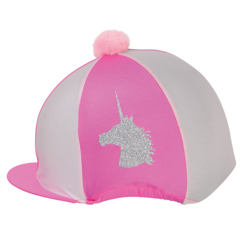 Unicorn Glitter Hat Cover by Little Rider - Cerise/Light Pink - One Size