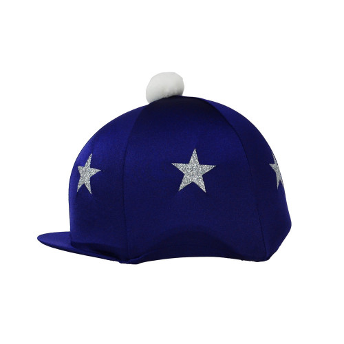 HyFASHION Pom Pom Hat Cover with Glitter Star Pattern - Navy/Silver Stars - One Size