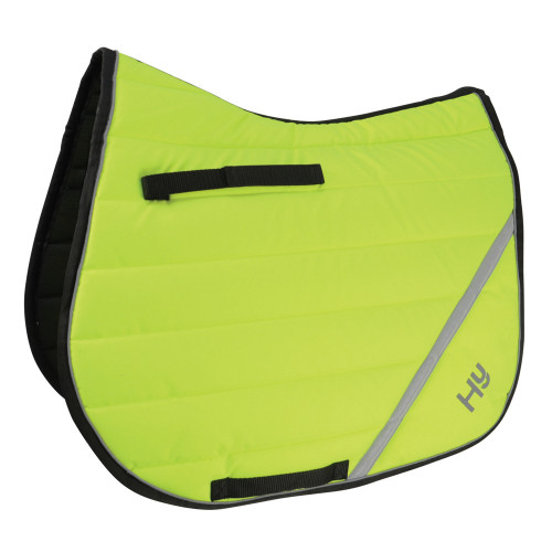 Full View Reflector Comfort Pad by Hy Equestrian in Yellow in Cob/Full Size