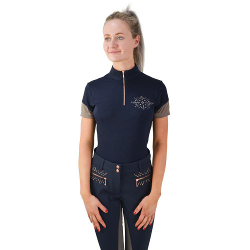HyFASHION Kensington Ladies Sports Shirt - Navy/Taupe/ Rose Gold - Small