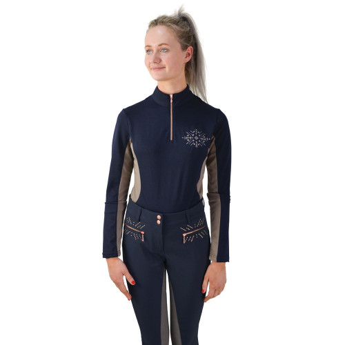 HyFASHION Kensington Ladies Long Sleeved Sports Shirt - Navy/Taupe/ Rose Gold - X Small