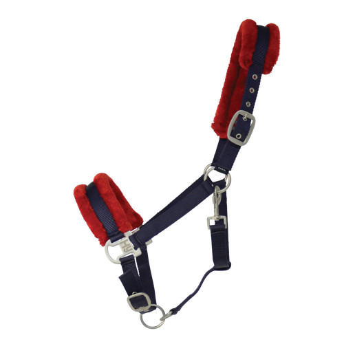 Hy Two Tone Faux Fur Head Collar - Navy/Red - Pony