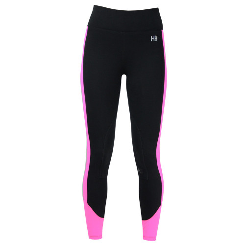Front View Reflector Ladies Breeches by Hy Equestrian - Pink/Black in 24""