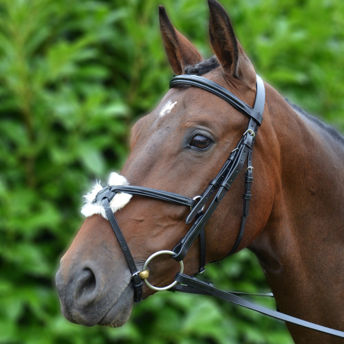 Hy Mexican Bridle with Rubber Grip Reins - Black - X Small