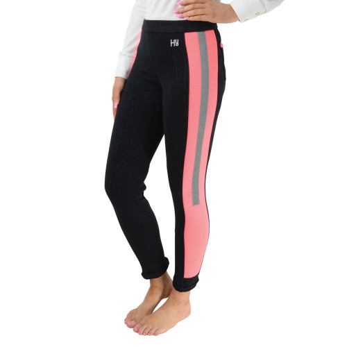 Front/Side View Reflector Ladies Jodhpurs by Hy Equestrian - Pink/Black in 24""