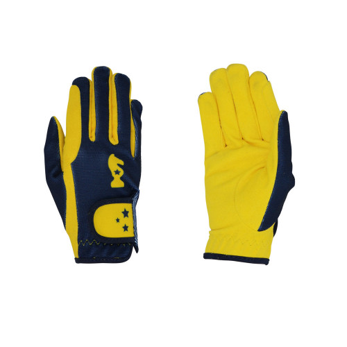 Lancelot Children's Riding Gloves by Little Knight - Yellow/Navy - Child Small