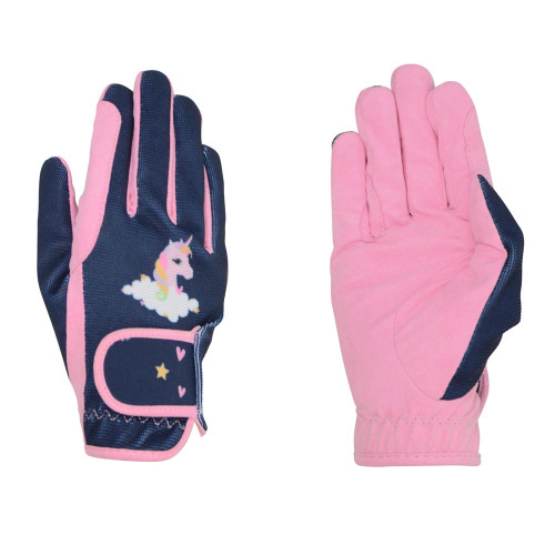 Little Unicorn Children's Riding Gloves by Little Rider - Candy Pink/Navy - Child Small