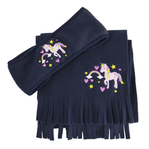 Little Unicorn Head Band and Scarf Set by Little Rider - Navy - One Size