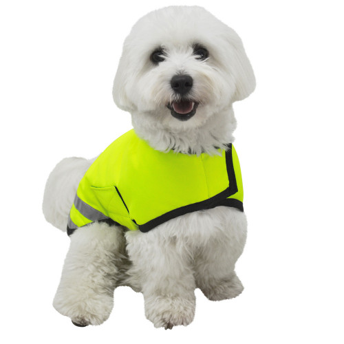 Front View Reflector Waterproof Dog Coat by Hy Equestrian in Yellow in XXX Small
