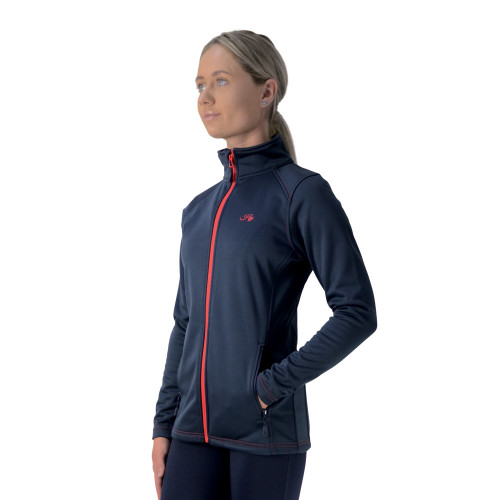 front view of the Hy Signature Softshell Jacket in Navy and red in extra small