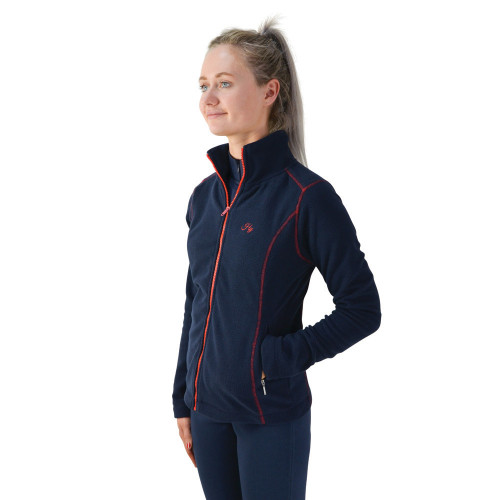 Front of the Hy Signature Fleece in Navy and Red in extra small
