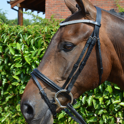 Hy Diamond Flash Bridle with Rubber Reins - Black - Pony