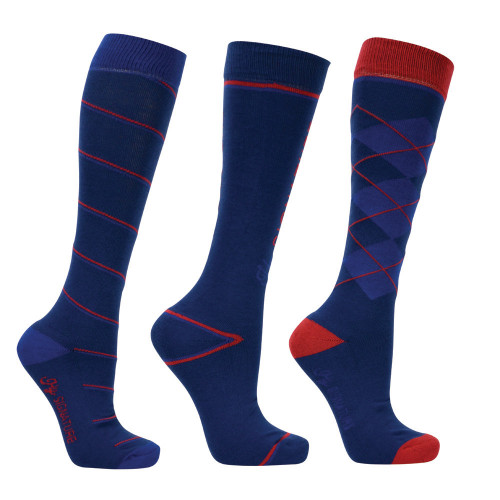 Hy Signature Socks (Pack of 3) in Navy, Red and Blue in Adult sizes 4-8
