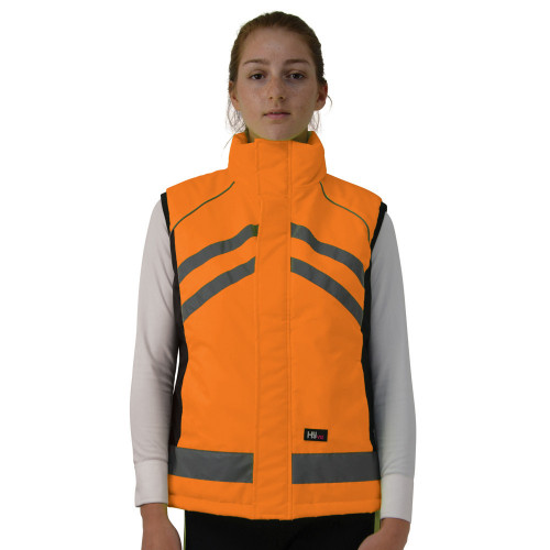 Front View HyVIZ Padded Gilet in Orange in X Small