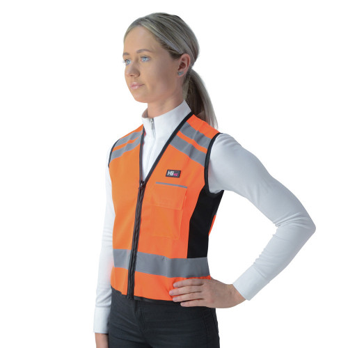 Front View HyVIZ Waistcoat - Please Pass Wide & Slow in Orange/Black in X X Small