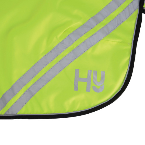 Outside Reflective View Reflector Mesh Exercise Sheet by Hy Equestrian - Orange in 4'6